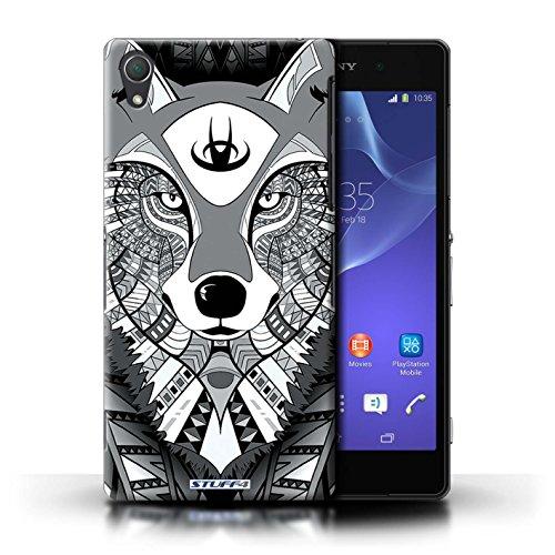 Coque en plastique pour Sony Xperia Z2 Collection Motif Animaux Aztec - Tigre-Bleu Loup-Mono