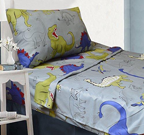 All American Collection 10Stück Twin Größe Dinosaurier Tröster Set mit pelzigen Freund, passende Bettlaken und Vorhang Set -