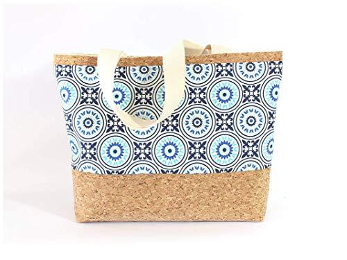 Braune Tasche aus Korkstoff mit blauem Mandala Muster - 2