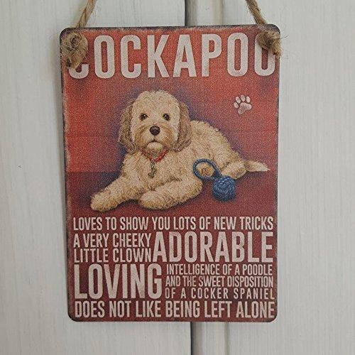 Cockapoo perro pequeño para colgar cartel de metal decoración de la pared Plaque–Adorable, Loving, no se como izquierda solo......