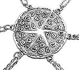 MJARTORIA Antik Silber Farbe Pizza Slice Halskette freundschaftsketten Stück 6