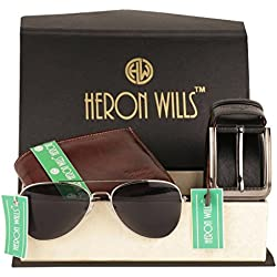 Heron Wills Genuine Leather Men Accessories Combo | Best Gift for Father, Best Gift for Husband, Gift for Son, Gift for Brother, Gift for Boyfriend | Best Wedding Gift, Best Wedding Return Gift.
