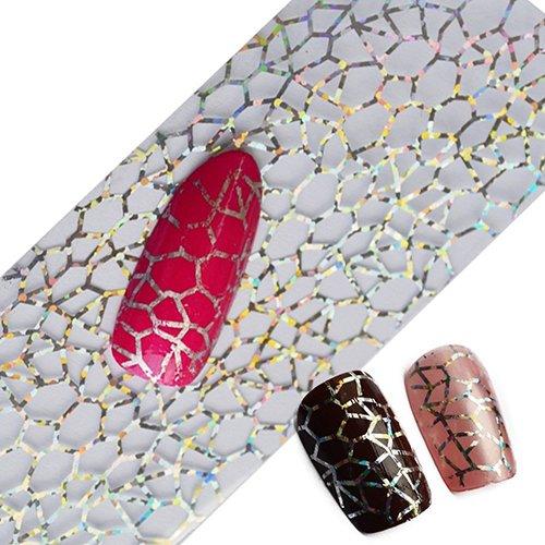 yibenwanligod Glitzer Nail Art Full Tips DIY Spinnweben Nagelfolien Transfer Polish Sticker Nail Decals
