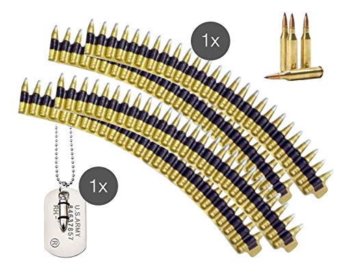 TK Gruppe Timo Klingler Munitionsgürtel Munition Patronengürtel Kette mit Patronen Patronenhülsen und Erkennungsmarke Hundemarke Kette für Fasching Karneval Soldat Rambo Armee (Munitionsgürtel) (Militär Kostüm Zubehör)