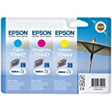 Epson T0442 T0443 T0444 cyan magenta yellow ink cartridge combo bulk packed for C64 C84 CX6400 C66 C86 CX6600 CX3600 CX3650 CX4600 - loose pack