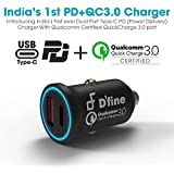 Dual Port USB Type-C PD + Qualcomm Quick Charge 3.0 Car Charger 36W High Power - First Time In India