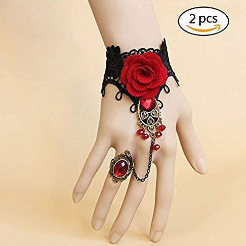 Pulsera de la flor, pulsera del estilo gótico negro con la pulsera roja del cordón de la flor de la tela para las señoras 2pcs de las mujeres