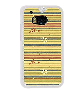 Lines Pattern with Flowers 2D Hard Polycarbonate Designer Back Case Cover for HTC One M8 :: HTC M8 :: HTC One M8 Eye :: HTC One M8 Dual Sim :: HTC One M8s