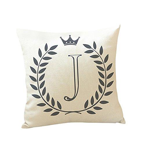 Watopi - Funda de cojín con diseño de Letra Vintage, Corona con Inicial, Personalizable, para sofá...