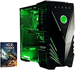 Vibox Precision 6 Gaming PC con Gioco War Thunder, 4GHz AMD FX Quad Core Processore, nVidia GeForce GT 730 Scheda Grafica, 1TB HDD, 8GB RAM, Case Predator, Neon Verde