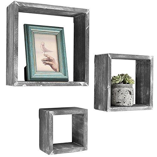 Barnwood grau Wand montiert Holz Shadow Boxen, Quadratische Floating Display Regalen, Set von 3