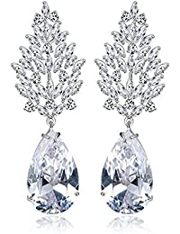 Yellow Chimes A5 Grade Crystal White Diamond Classic Designer Crystal Earrings for Women and Girls
