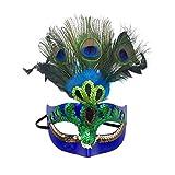 Xinwcanga Máscara con Plumas del Pavo Real para Halloween Disfraces de Cosplay Halloween de la Navidad (Azul, Talla única)