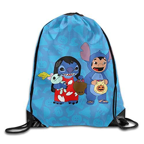 GONIESA Halloween Lilo & Stitch Travel Daypack Drawstring Backpack/Rucksack