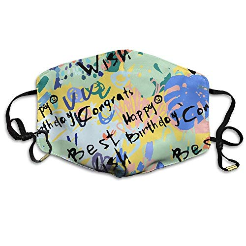 Masken, Masken für Erwachsene, Mask Face, Mouth Mask, Graffiti Art Happy Birthday Face Mask, Reuseable Polyester Face Mouth Mask Respirator for Cycling Anti-Dust for Unisex Men Women Kids (Birthday Happy Chica)