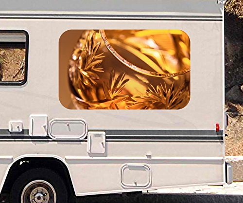 3D Autoaufkleber Weinbrand Glas gold Wein abstrakt Wohnmobil Auto KFZ Fenster Motorhaube Sticker...