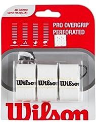 WILSON Surgrip Pro pour Raquette de TEnnis Perforée Poignée Blanche (Pack de 3)