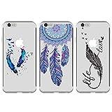 3x Coque pour iPhone 6, iPhone 6S 4.7 Pouces, Etui Elégant Silicone TPU Mince Léger Souple Professionnel Nouveau Housse Peinture Protecteur - Attrape-Rêve, Plume Bleu