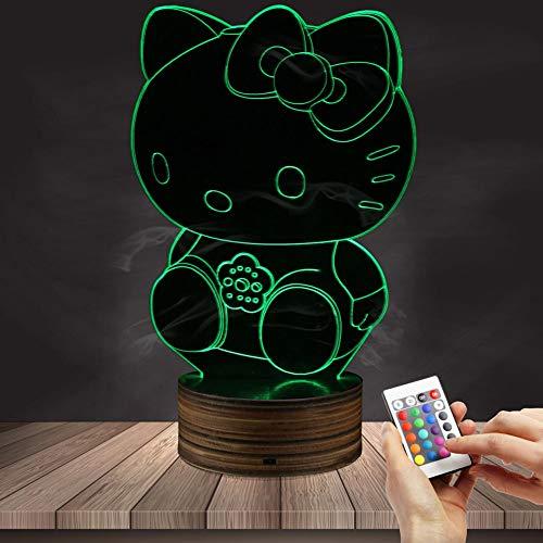 3D Illusion Nachtlicht Hellokitty Fernbedienung Tisch Tischlampe, 7 Farben optisches USB LED-Nachtlicht