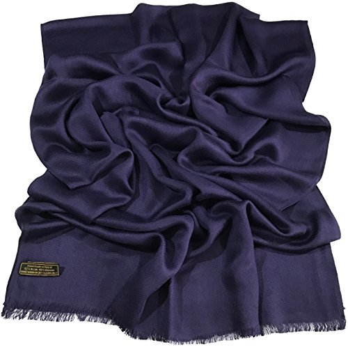 navy-blue-solid-colour-design-nepalese-fringe-shawl-pashmina-scarf-cj-apparel-new