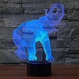 Tiere Elefant 3D Illusion Lampe Led Nachtlicht mit 7 Farben