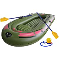 ~ 190 120 Cm 2-Persona Bomba De Aire Verde Kayak Inflable del PVC Barco De Goma Inflable Barco Remos Juego De Cuerda