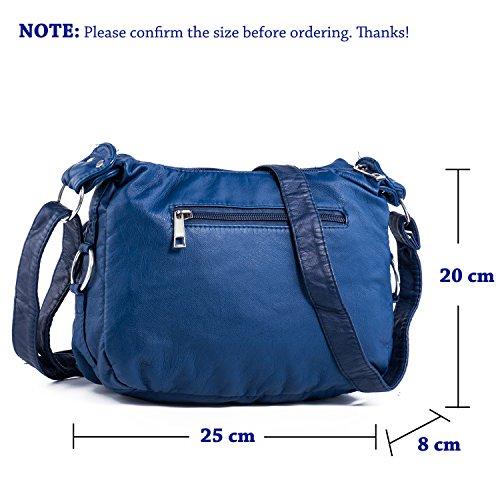 Borsa a tracolla donne rivestono di pelle, borsa Borsa Cross Body Bag in pelle Hengying nuova annata con molte tasche con zip + Portachiavi in pelle Blu
