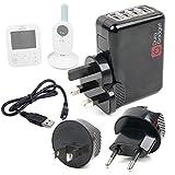 Duragadget Chargeur Secteur 4xUSB + Adaptateurs Internationaux pour Philips Avent...