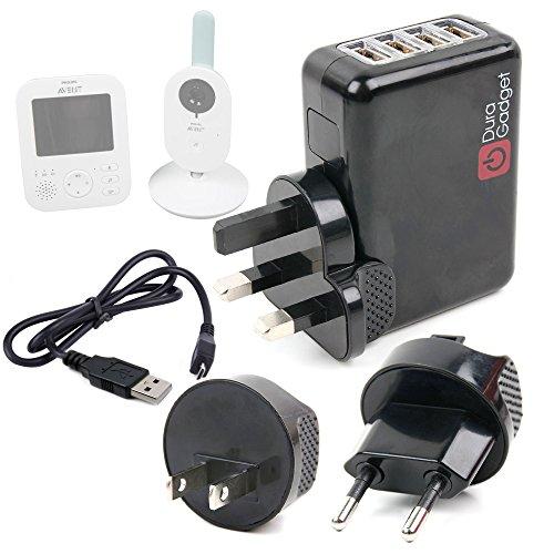 Duragadget Chargeur Secteur 4xUSB + Adaptateurs Internationaux pour Philips Avent SCD620 Ecoute Bébé Vidéo numérique câble USB Inclus