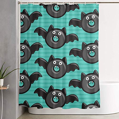 IconSymbol Decorative Easy Care Bat Vampire Halloween Donuts On Teal Colorful Bathroom Shower Curtain for Showers 60