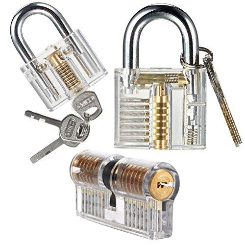 Keyed Lock-set (UEETEK 3pcs Practice Lock Set Transparente Training Crystal Keyed Vorhängeschloss für Locksmith Anfänger)