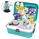 BOWA Pet Care Role Play Set Grooming Toys Feeding Dog Backpack Vet Kit Educational Toy for Kids Children (16 pcs)