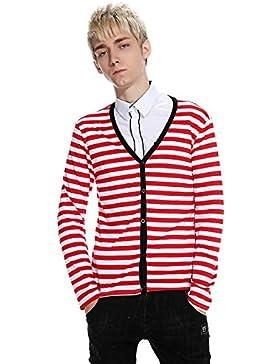 HY-Sweater El Otoño y el Invierno del Abrigo Hombres Pull Rayas Cuello en V Jersey de Manga Larga, Big Red and...