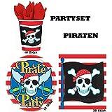 Partyset Piraten für 16 Kinder 48 Teile Becher Teller Servietten