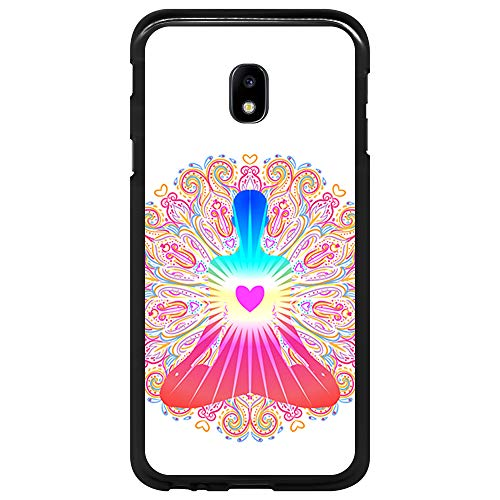 BJJ SHOP Schwarz Hülle für [ Samsung Galaxy J3 2017 ], Klar Flexible Silikonhülle, Design: Chakra Kunst, Buddhismus, innerer Frieden
