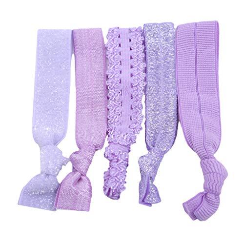 mbänder Mädchen Cheerleading Armband Pferdeschwanz Inhaber Dekorationen Elastisches Haarseil Set Styling Zubehör, Lila ()