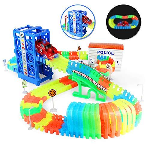 Nuheby Circuit Voiture Enfant Circuit Flexible Lumineux 1 Voiture Flexible Track avec 120 Pièces sur Chenilles et 1 Voiture Jeux Educatif 3 4 5 Ans Garçon Fille