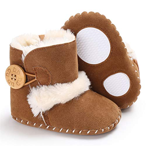 , Jungen Mädchen Mode Winter Booties Infant Kleinkind Neugeborenen Warme Schneeschuhe Schuhe (12cm 6~12Monat, Braun) ()