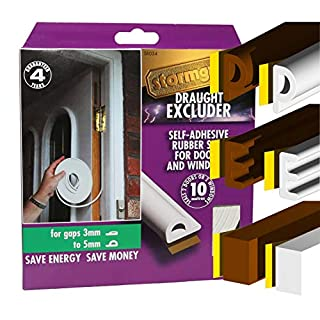 STORMGUARD B009XE0FJA P Profile Brown-EPDM Rubber Seal and Foam Draught Excluder Window or Door Draft, White