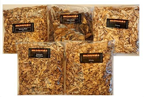 BBQ Smokerholz oder Räucherholz Woodchips Exoten Sammlung zum Probieren Hickory Whisky Rotwein Strong Beer und Olive