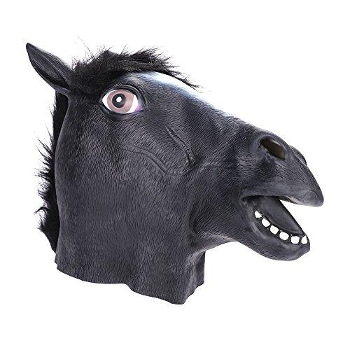 Maske Pferd aus Latex Pferdekopf Pferd Kostüm Unisex für Damen Herren Tiermaske lustig für Fasching Kostümparty Cosplay Weihnachten Pferdemaske (Lustige Pferdekopf Kostüm)