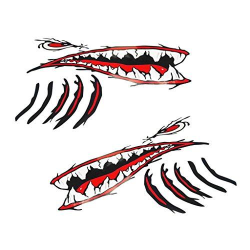 Descripción:      Pedazos de tiburón de 2 piezas para boca de tiburón con ojos rojos y hendiduras branquiales negras rojas, diseño nuevo y genial   Pegatinas de kayak de barco de pescado impermeables, autoadhesivas y de larga duración   Color...