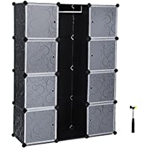 Songmics Armario ropero Estantería modular Plástico PP con barra para colgar ropa 108 x 36 x 143 cm Diseño estampado Negro LPC30B
