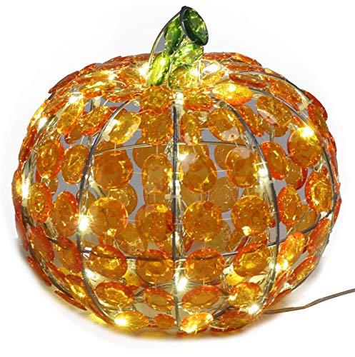 Halloween Kürbis in Kristall-Optik 40 LED beleuchtet Deko außen Fenster