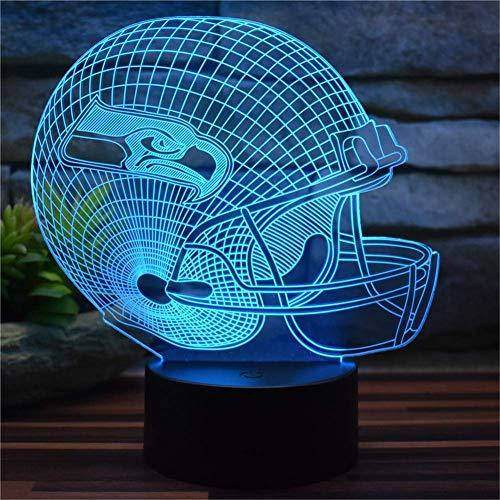 Novelty lamp, Kreative Seattle Seahawks American Football Cap 3D Illusion Nachtlicht USB Fernbedienung 16 Farbwechsel LED Schlafzimmer Schreibtisch Lichter dekorative Lichter Zimmer Home Decor Kinders