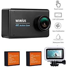 WiMiUS L3 Action Cam 4K Full HD 16MP WIFI con 2,45 Pollici LCD Touch Screen Action Sport Camera Impermeabile 4K e Kit Accessori + 2 Batterie (Nero)