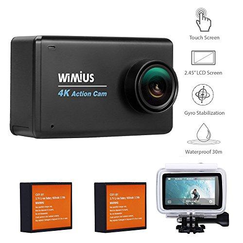 Galleria fotografica WiMiUS L3 Action Cam 4K Full HD 16MP WIFI con 2,45 Pollici LCD Touch Screen Action Sport Camera Impermeabile 4K e Kit Accessori + 2 Batterie (Nero)