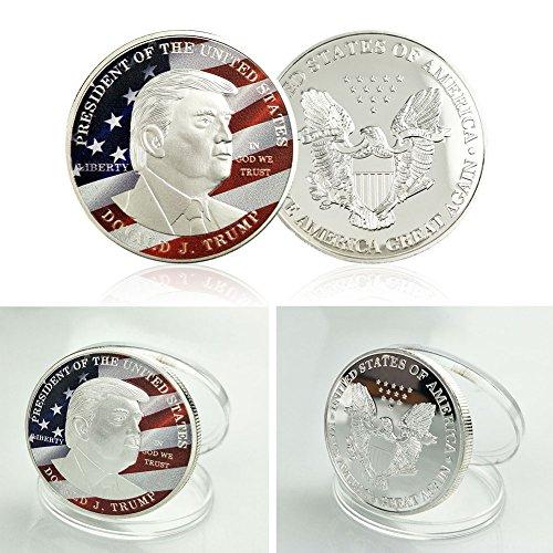 Tiptiper Moneda conmemorativa, Donald Trump Moneda de la bandera de Eagle de plata América Gran arte de la colección de 45o Presidente