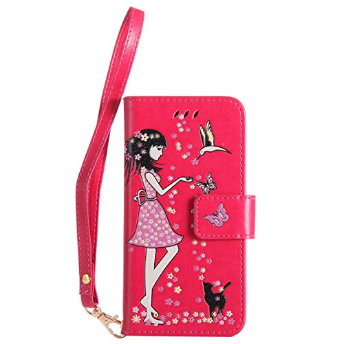 Custodia iPhone 7, iPhone 7 Cover Wallet, SainCat Custodia in Pelle Flip Cover per iPhone 7/8, 3D Creativa Design Ultra Sottile Anti-Scratch Book Style Custodia Morbida Cover Protettiva Caso PU Leathe Red Rose