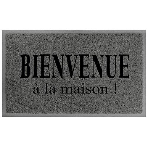 Tapis Déco Maison Tapis d'Entrée PVC Gris/Noir 75 x 45 x 75 cm